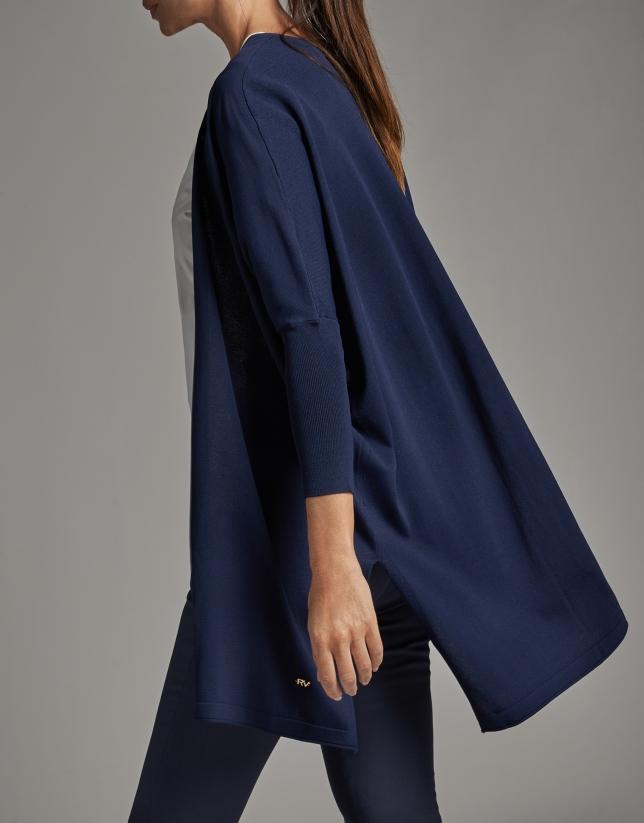 Long navy blue knit jacket