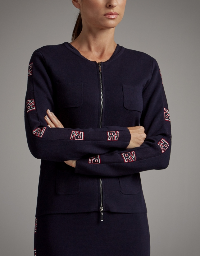 Navy blue knit jacket with RV jacquard