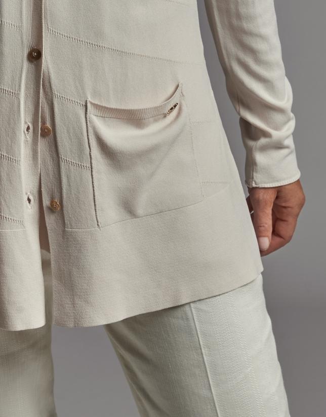 Beige knit jacket with RV jacquard