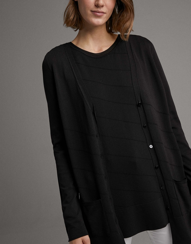 Black long knit jacket