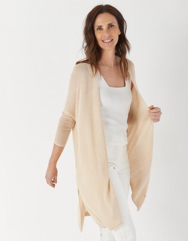 Long Hazelnut linen jacket