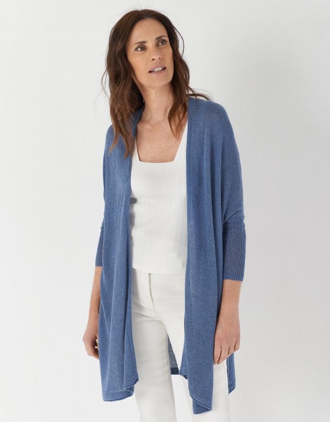 Long blue linen jacket