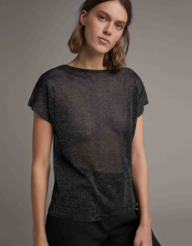 Black transparent lurex sweater