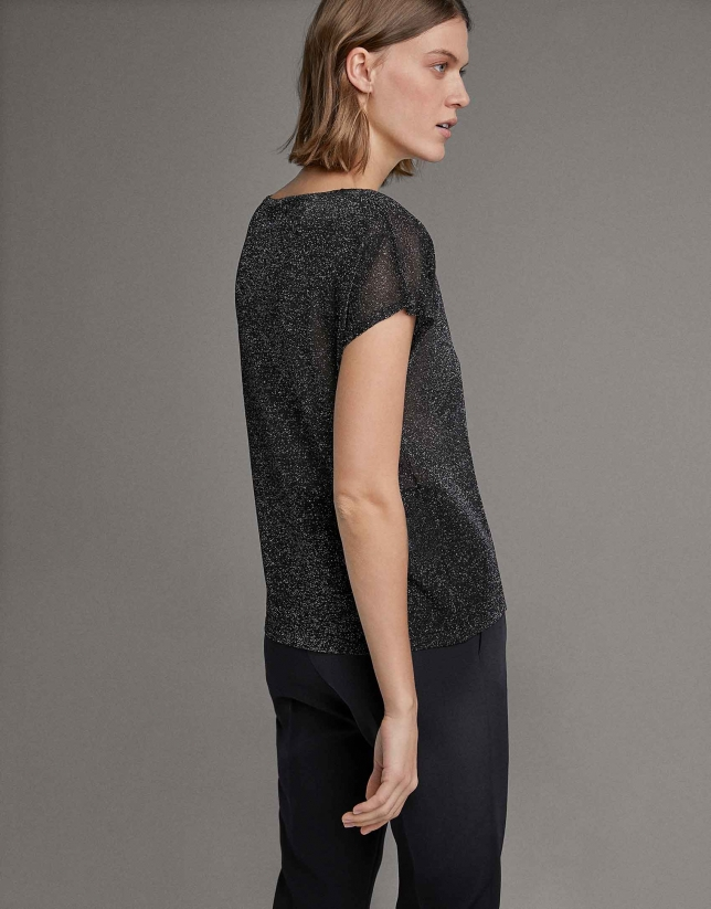 Black transparent lurex sweater