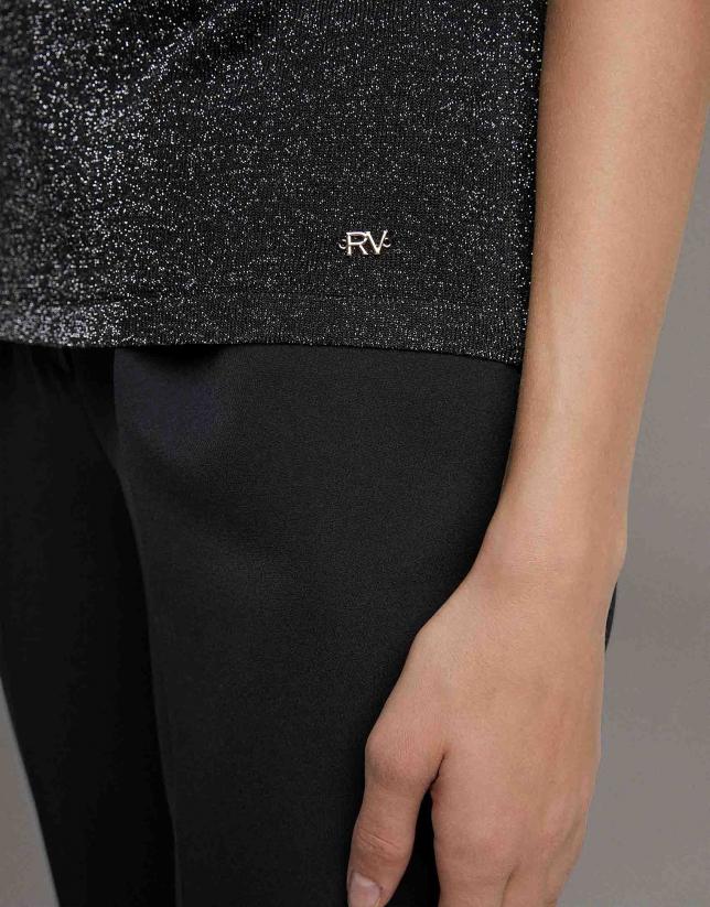 Jersey trasparente de lurex negro