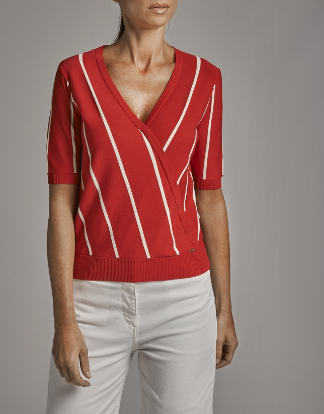 Red and white striped sweater and crossover neckline