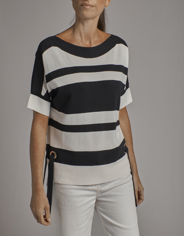 Black and beige striped oversize sweater with bat sleeves