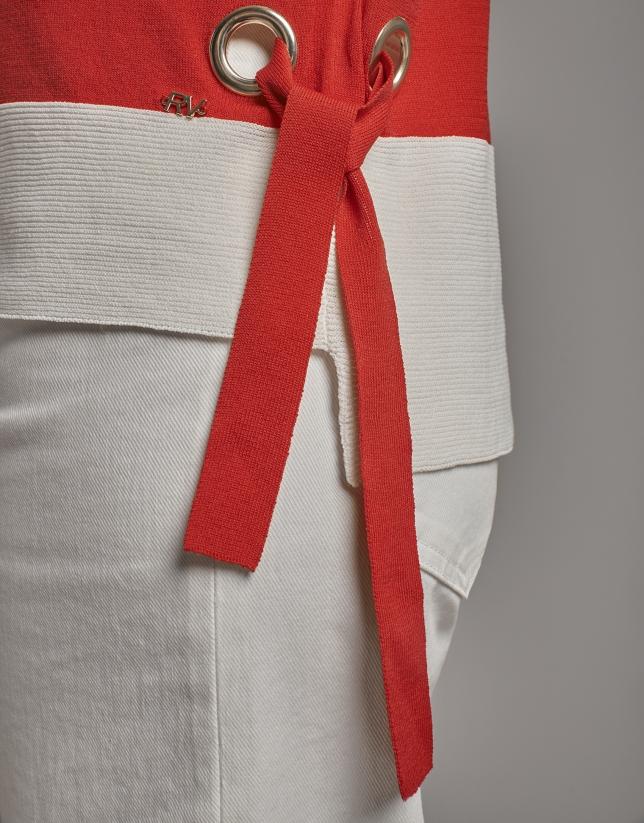 Jersey oversize manga murciélago rayas rojo y crudo