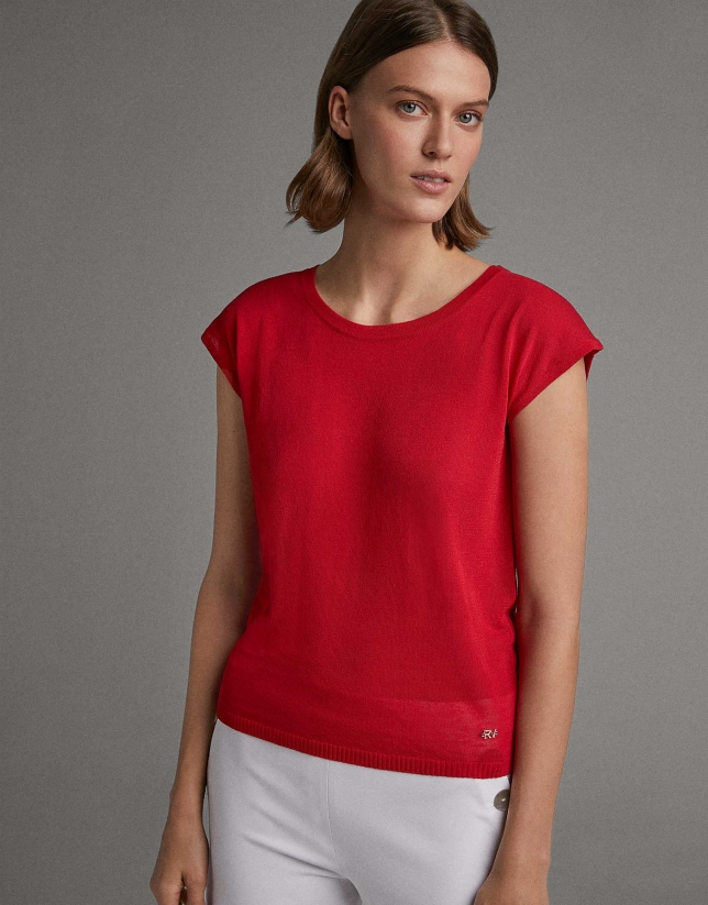 Red sweater with dropped sleeves