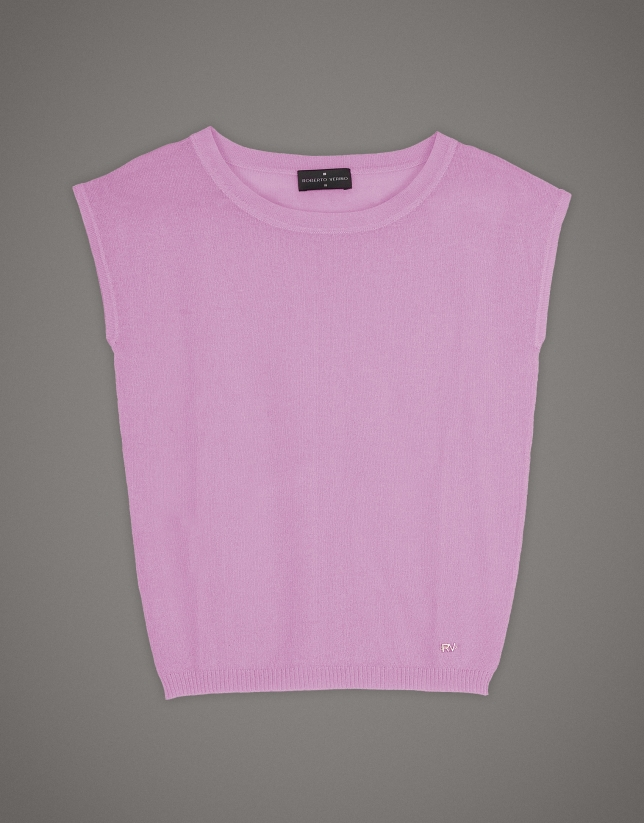 Pink sweater with dropped sleeves