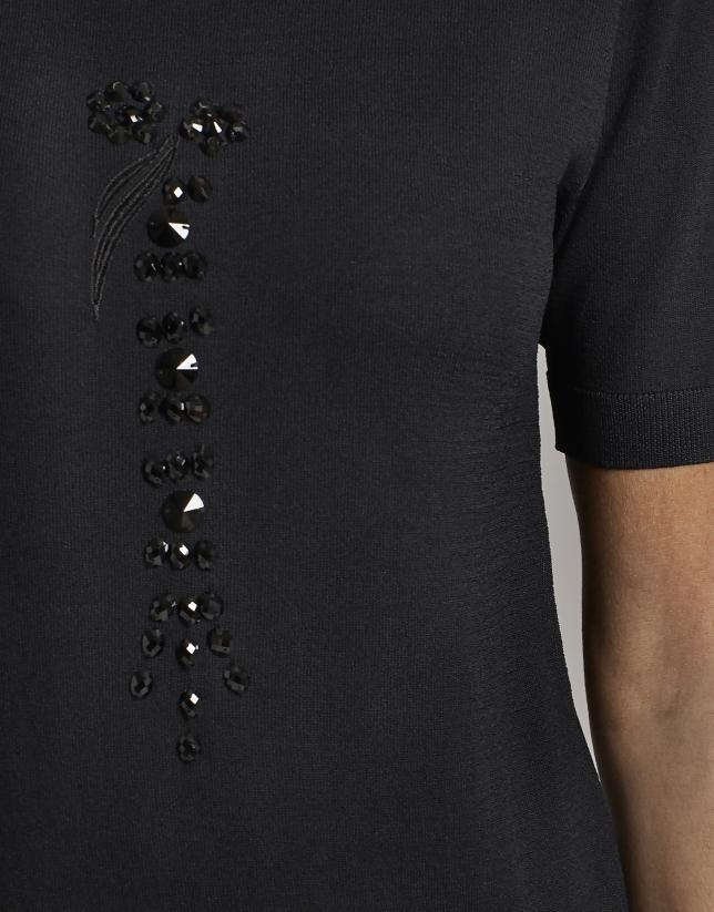 Jersey negro con bordado de piedras