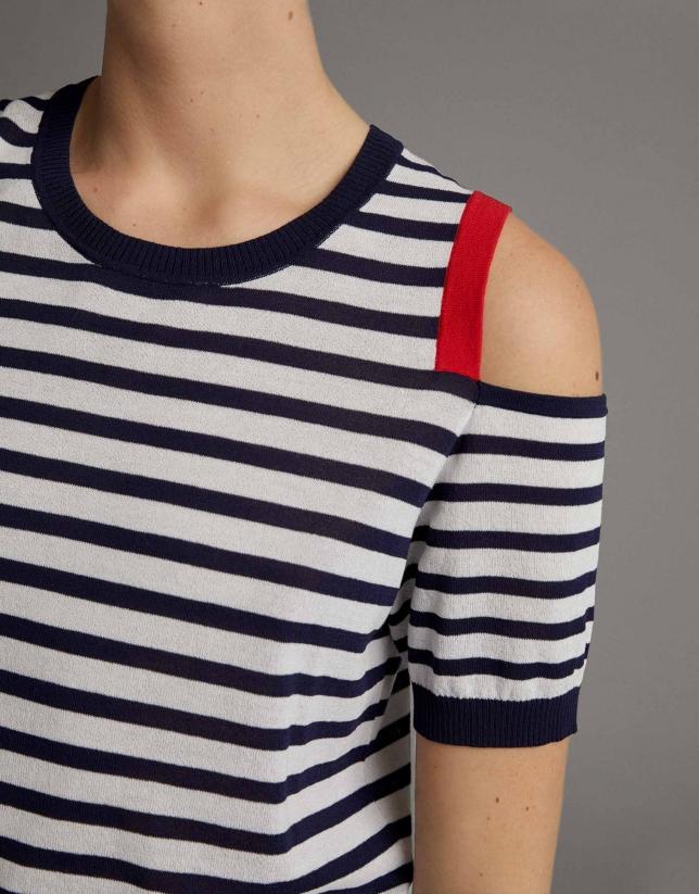Jersey rayas azul con abertura en hombro