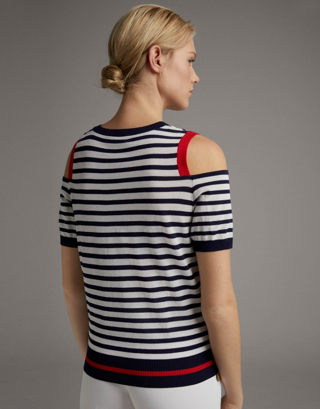 Blue striped sweater with shoulder slits