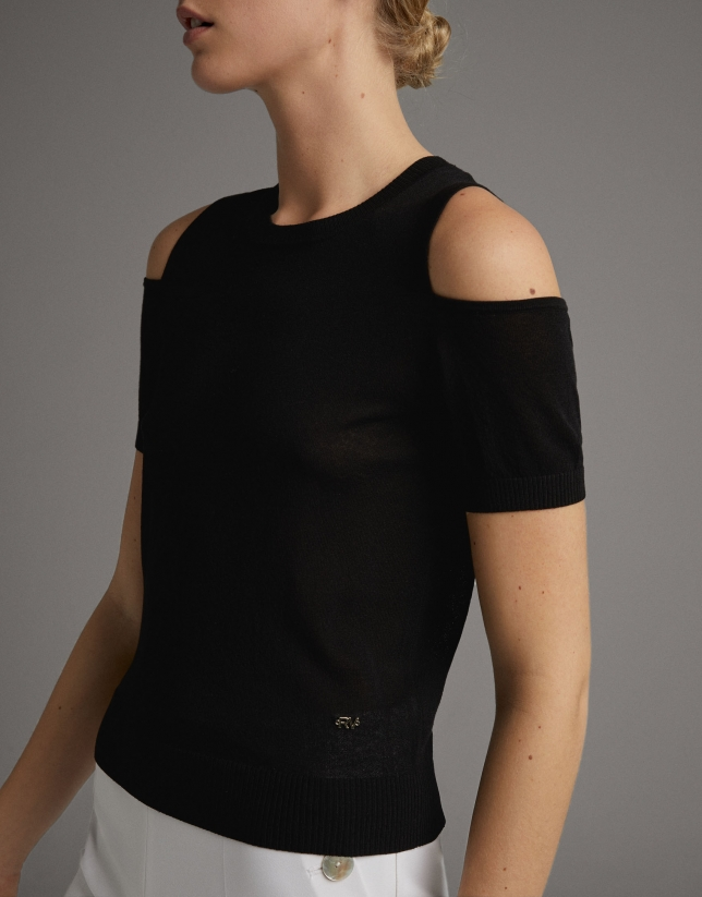 Black sweater with shoulder slits