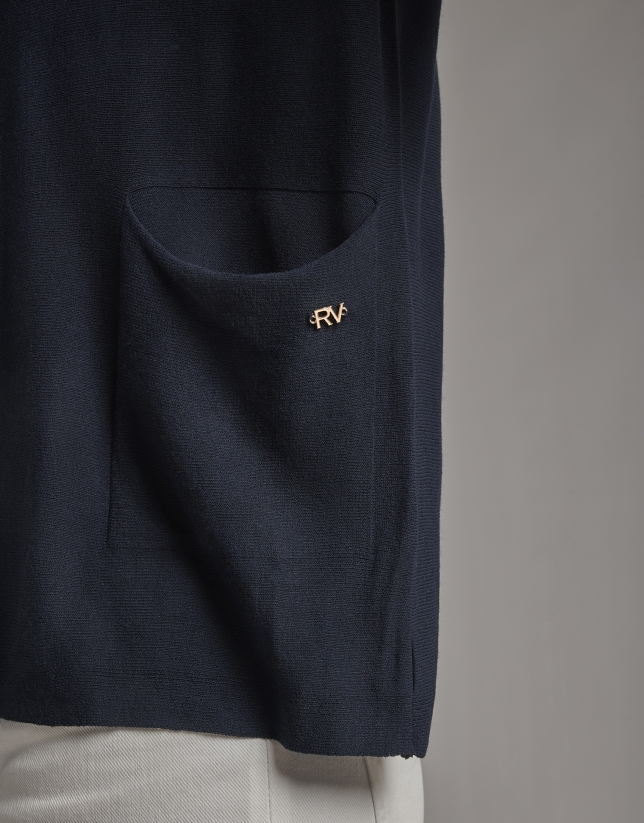 Navy blue oversize sweater with bow in back