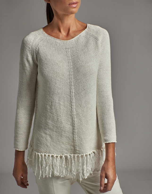 White oversize sweater with fringe bottom