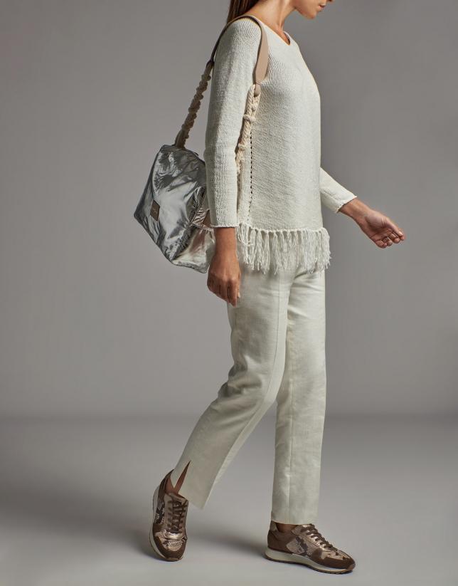 White oversize sweater with fringe bottom