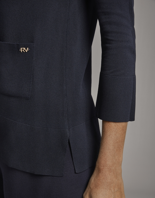 Jersey manga francesa y bolsillos plastrón azul
