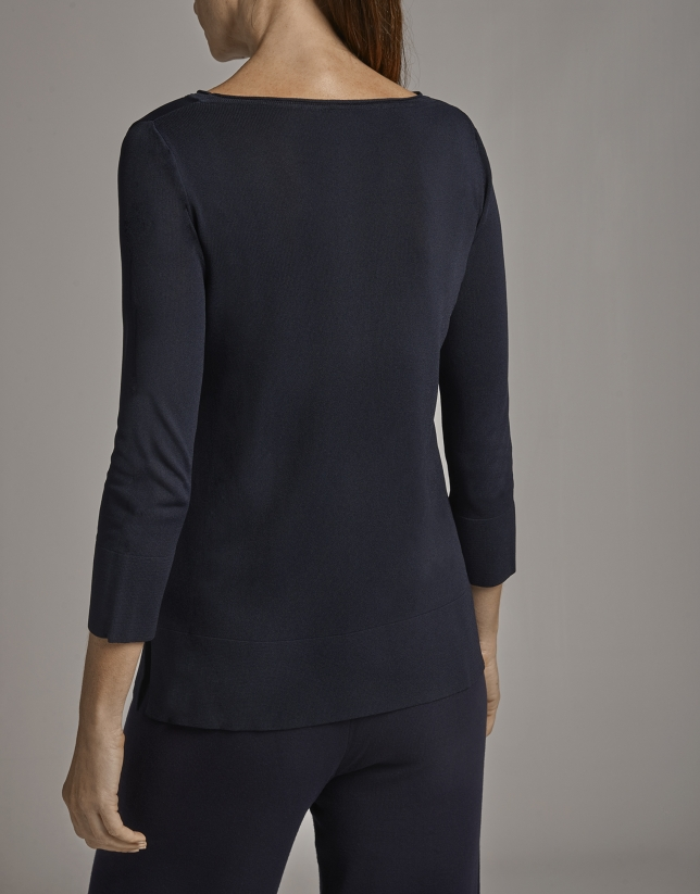 Blue sweater with French sleeves and patch pockets