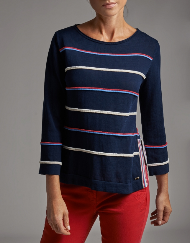 Navy blue sweater with side openings