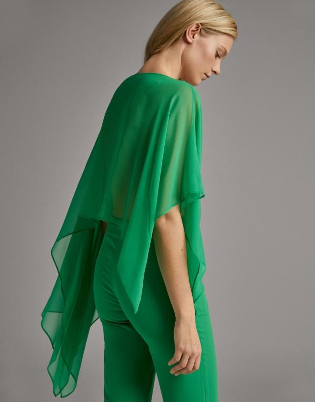Green silk dressy shawl
