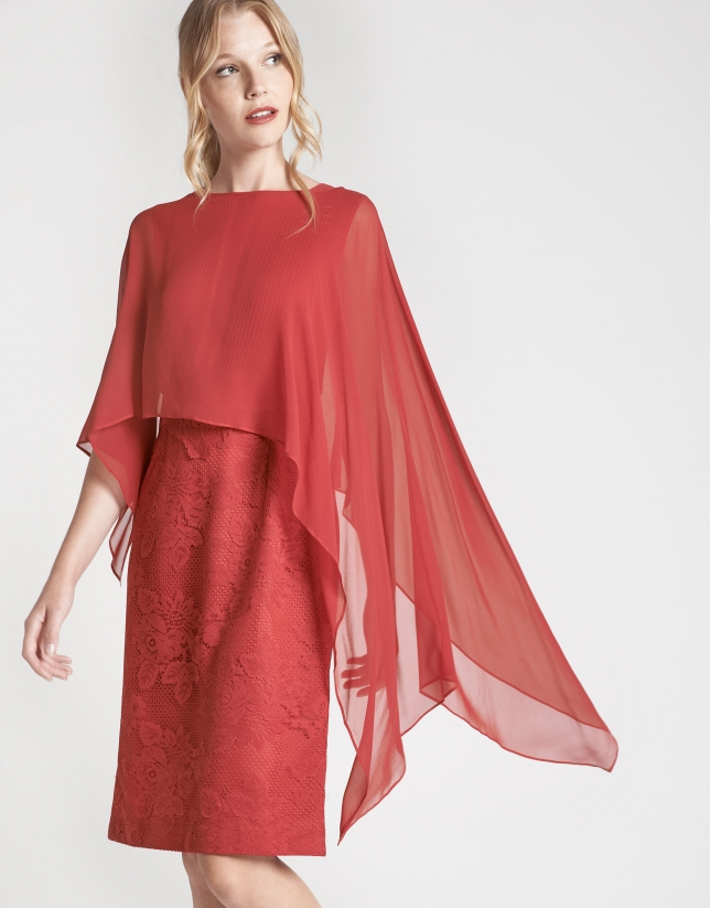 Red silk dressy shawl