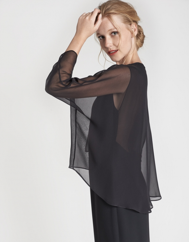 Chal de vestir seda negra