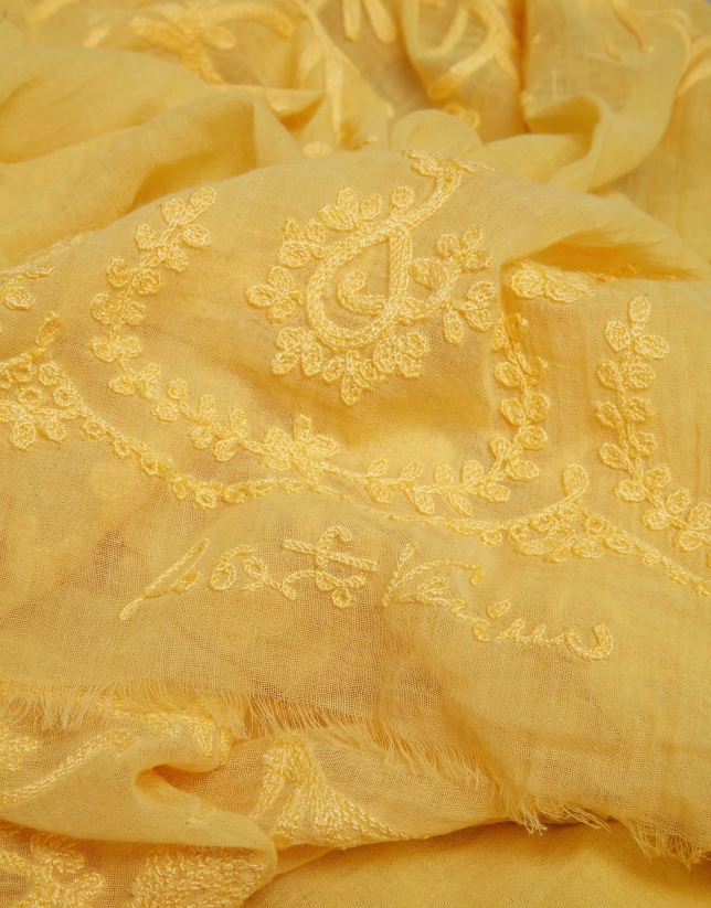 Gold floral embroidered scarf