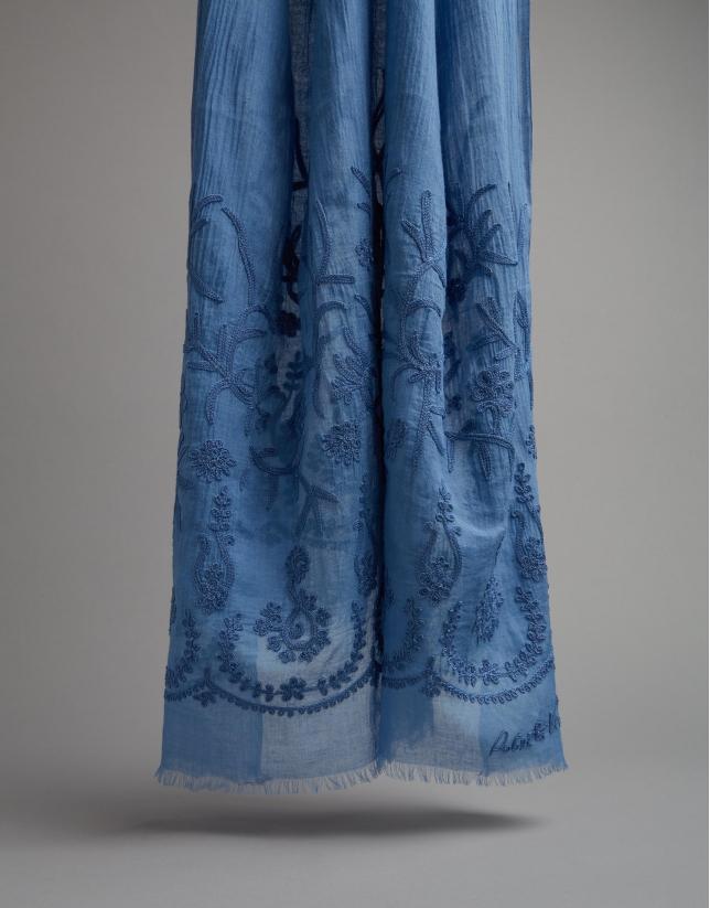 Etole à broderie florale blue