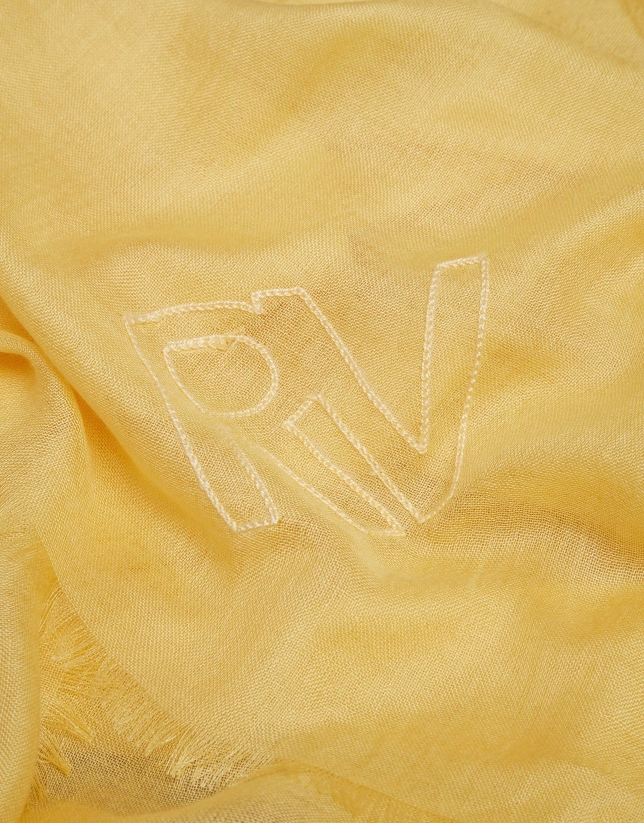 Gold rayon scarf with logos