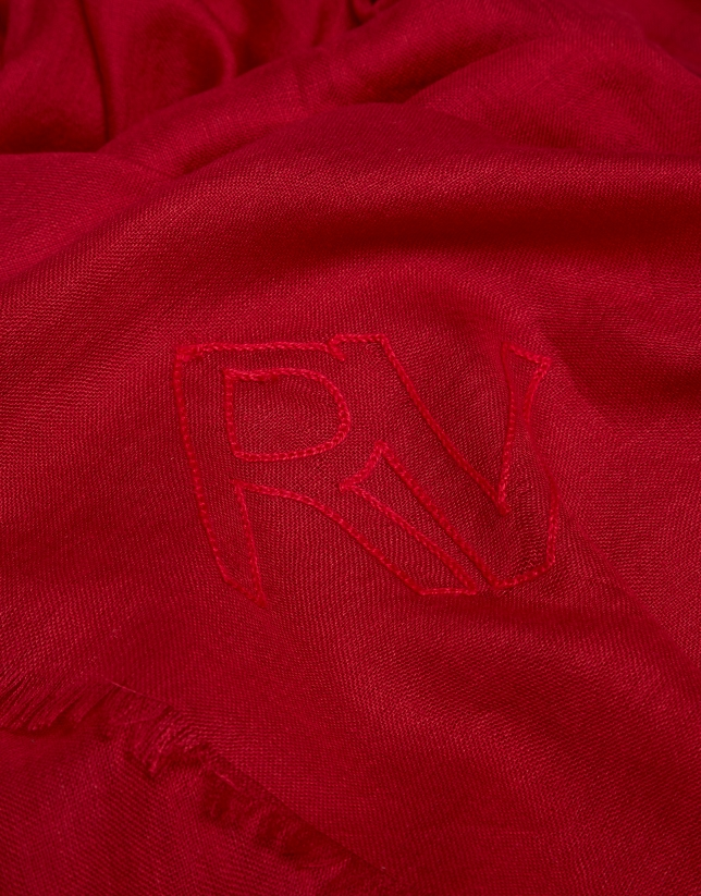 Red rayon scarf with logos