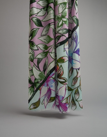 Floral and leaf print scarf