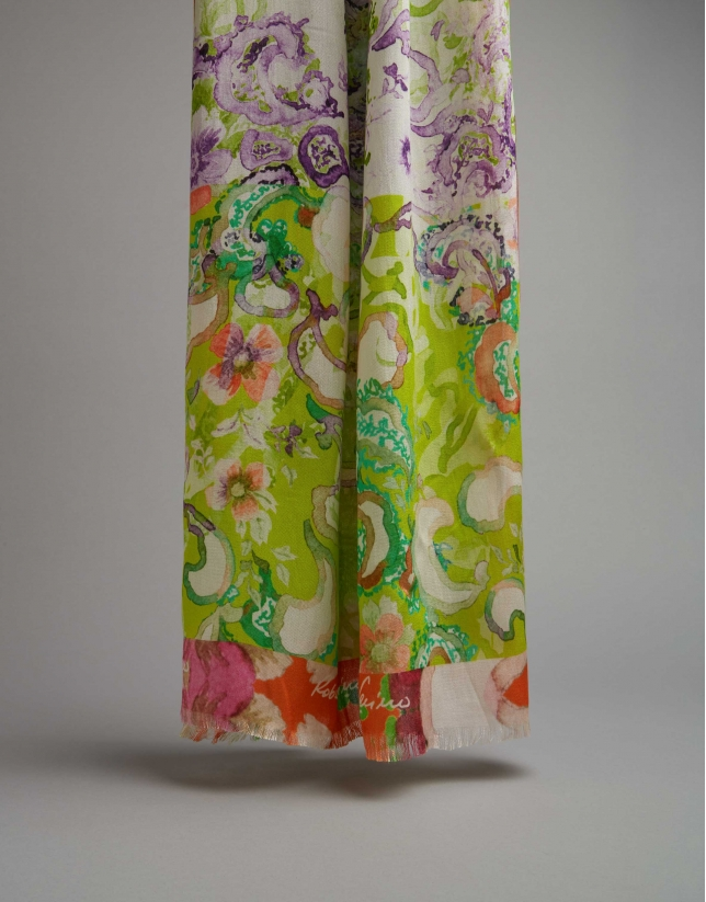 Green and lavender floral print scarf