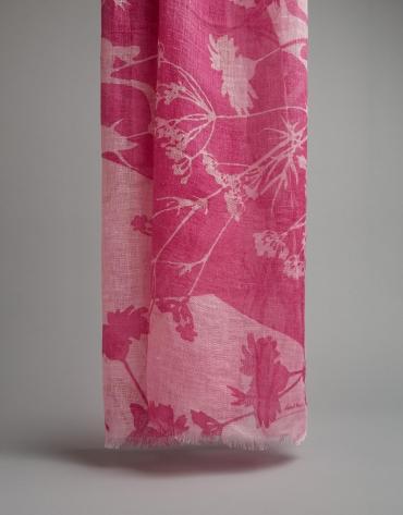 Pink floral print linen scarf