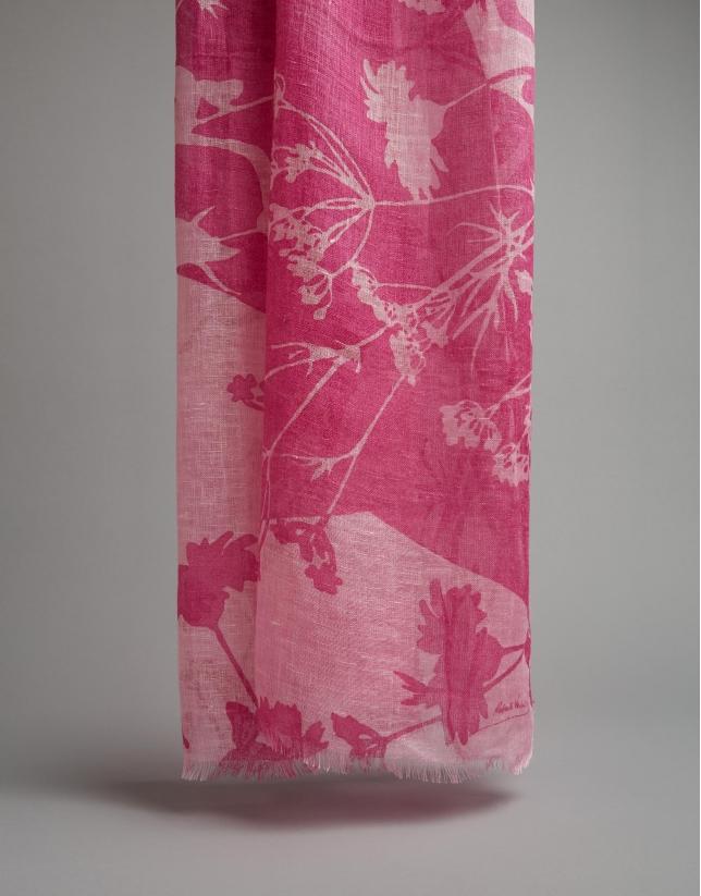 Fular lino rosa estampado floral