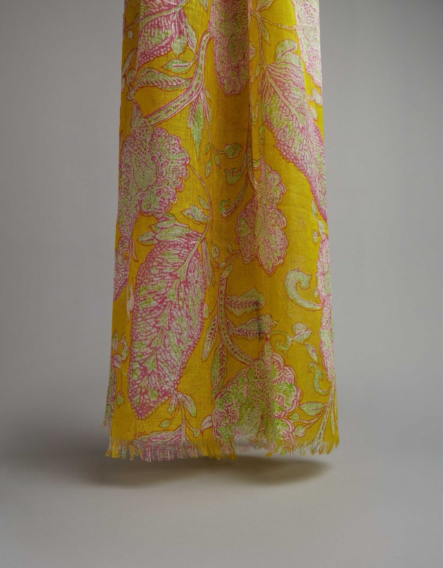 Green floral print linen scarf