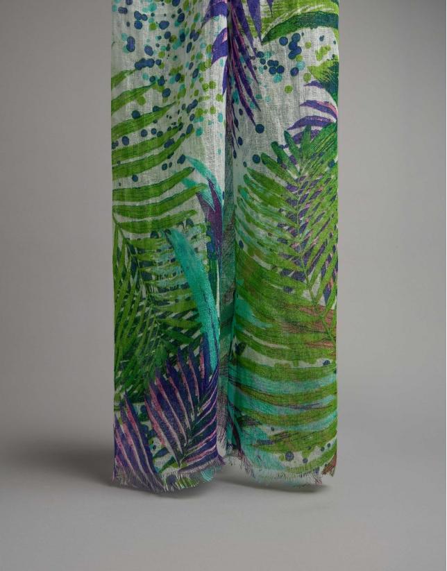 Fular lino verde estampado palmeras