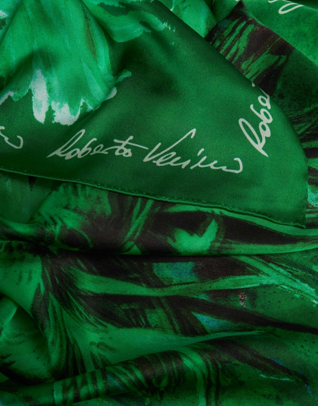 Small green silk scarf with chrysanthemum print
