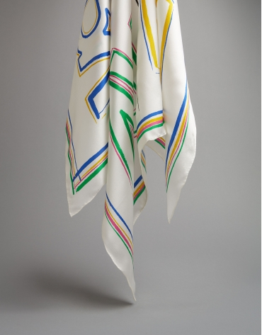 Small multicolor silk scarf with RV logos