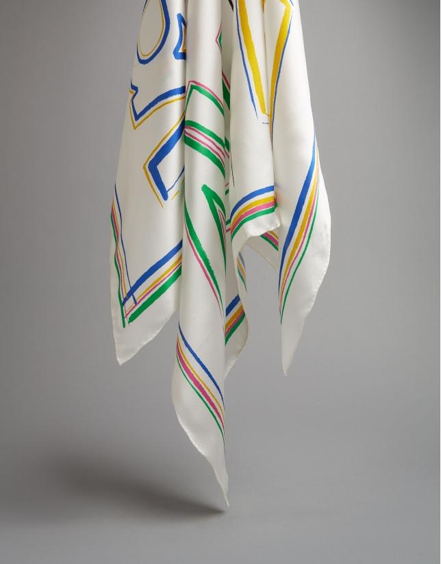 Pañuelo seda logos RV multicolor
