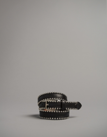 Black leather belt with metallic edges