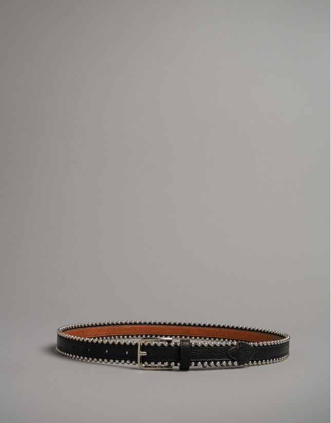 Black leather belt with metallic edges