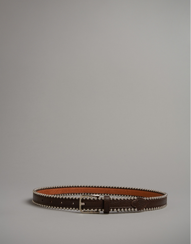 Brown leather belt with metallic edges