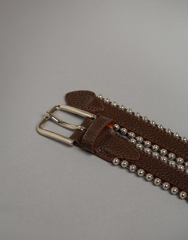 Cinturón piel marrón con perfil metálico