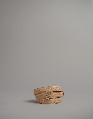 Cinturón alomado grabado serpiente natural