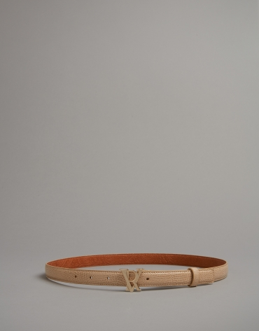 Light beige embossed snakeskin leather belt