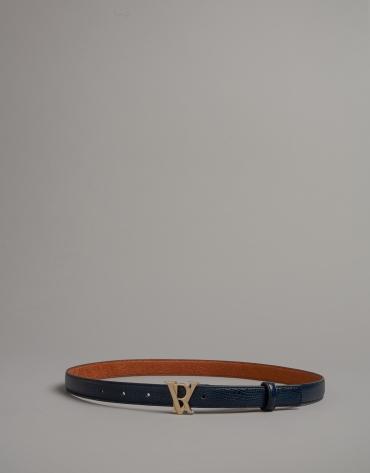 Blue embossed snakeskin leather belt