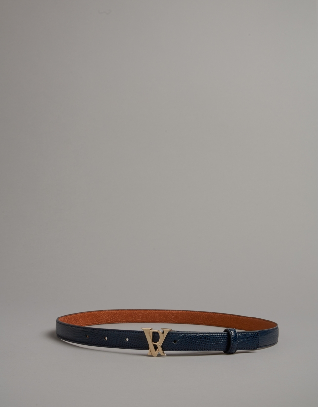 Blue embossed snakeskin leather belt