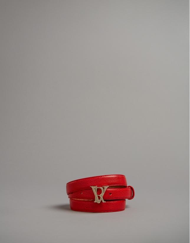 Cinturón alomado grabado serpiente rojo