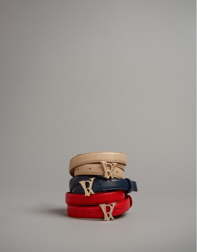 Red embossed snakeskin leather belt